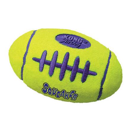 Kong AirDog Squeaker Football Dog Fetch Toy Yellow Medium