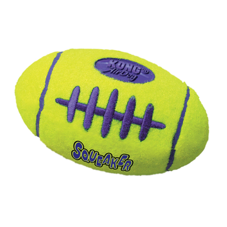 Kong AirDog Squeaker Football Dog Fetch Toy Yellow Small