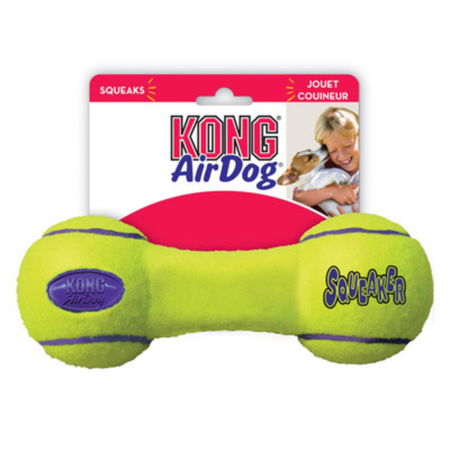Kong Airdog Squeaker Dumbbell Dog Fetch Toy Yellow Small