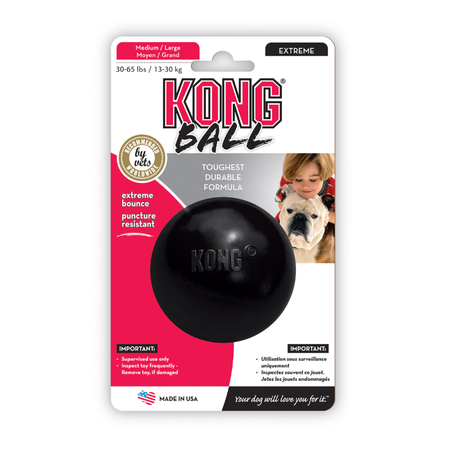 Kong Extreme Ball Dog Toy for Powerful Chewers Black Medium/Large