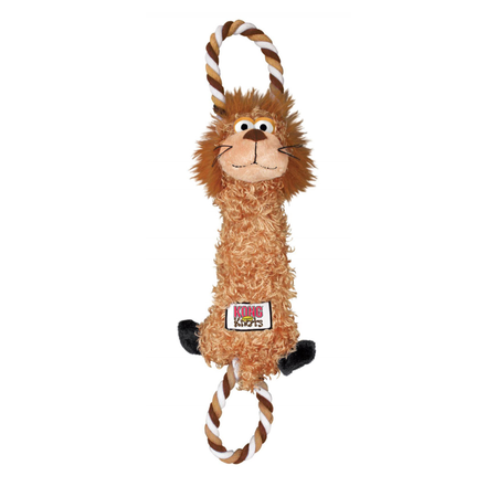 Kong Tugger Knots Lion Squeaky Dog Toy Brown Small/Medium