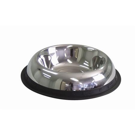 KraMar Stainless Steel Non Skid Round Side Dog Bowl Silver 2.8L