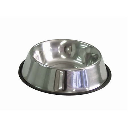 KraMar Stainless Steel Non Skid Tapered Side Dog Bowl Silver 2.8L