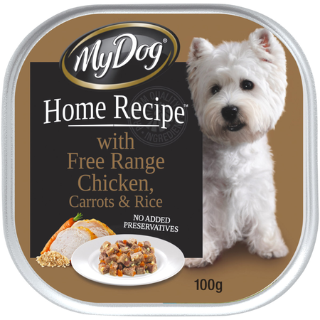 MY DOG HOME RECIPE with Free Range Chicken Carrots & Rice - Multipack 6x100gm
