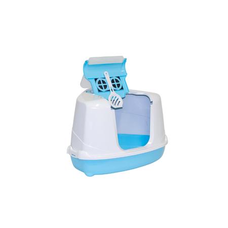 Moderna Flip Cat Corner Hooded Cat Litter Tray Blue