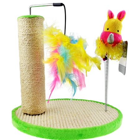 Neon Cat Pole with Dangle Toy & Swatter Scratcher