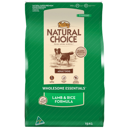 Nutro Natural Choice Adult Lamb, Rice and Oatmeal Dry Dog Food  15kg
