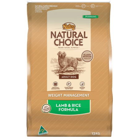 Nutro Natural Choice Adult Lite, Weight Management Lamb and Rice Dry Dog Food  13kg