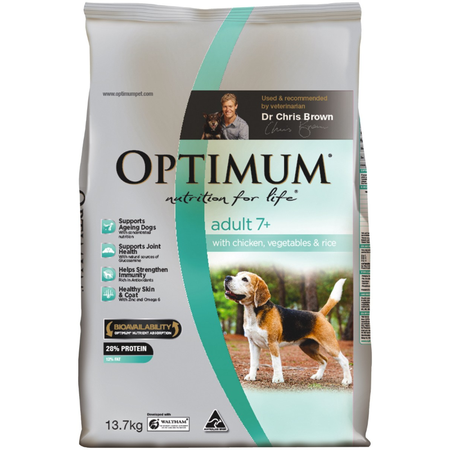 OPTIMUM Dog Adult 7+ Chicken Vegetable & Rice 13.7kg