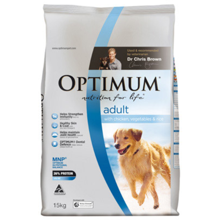Optimum Adult Chicken, Rice and Vegetables Dry Dog Food  15kg