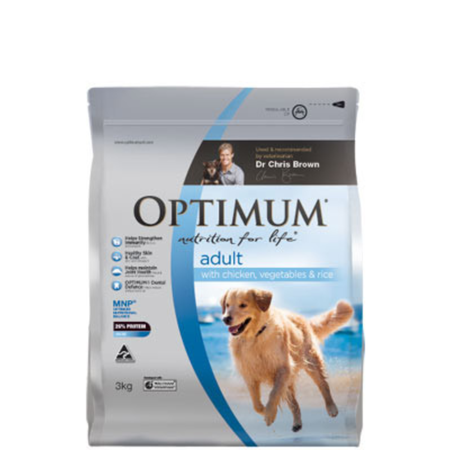 Optimum Adult Chicken, Rice and Vegetables Dry Dog Food  3kg