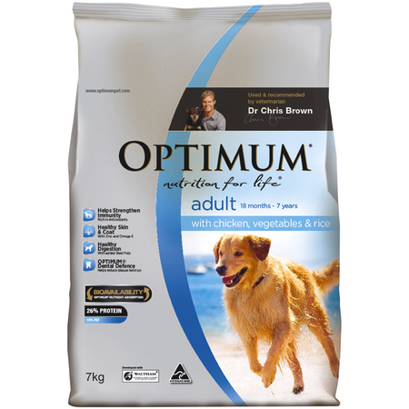 Optimum Adult Chicken, Rice and Vegetables Dry Dog Food  7kg