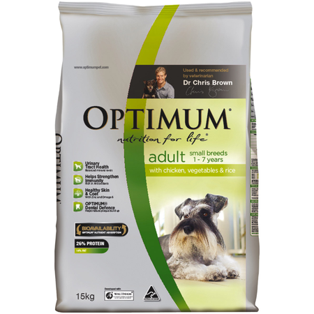 Optimum Adult Small Breed Chicken, Vegetables and Rice Dry Dog Food  15kg