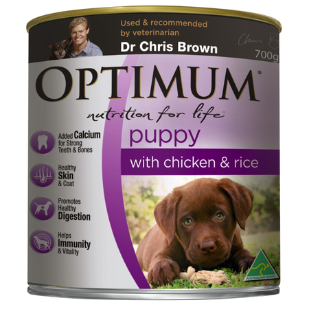 Optimum Chicken and Rice Puppy Canned Food 700g