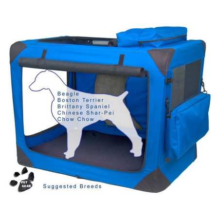Pet Gear Generation II Soft Collapsible Dog Crate Blue 36In (89.4Lx58.7Wx67.5Hcm)