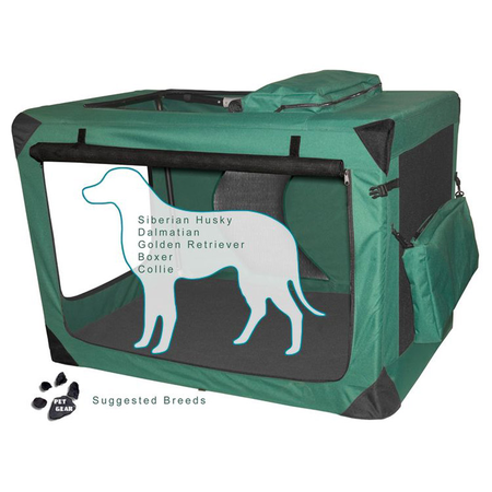 Pet Gear Generation II Soft Collapsible Dog Crate Green 42In (102Lx72.5Wx70Hcm)