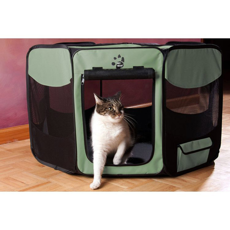 Pet Gear Octagonal Collapsible Play Pen Green 36In (90Lx90Wx52.5Hcm)