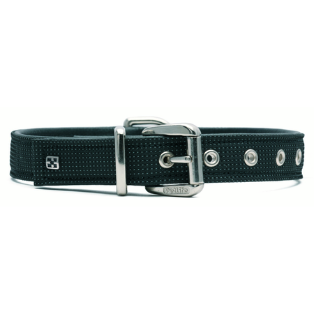 Petlife Action Leather Lined Dog Collar Black Medium (45cm)