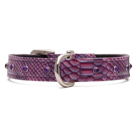Petlife Jewels Leather Lined Dog Collar Purple XX Large (67.5cm)