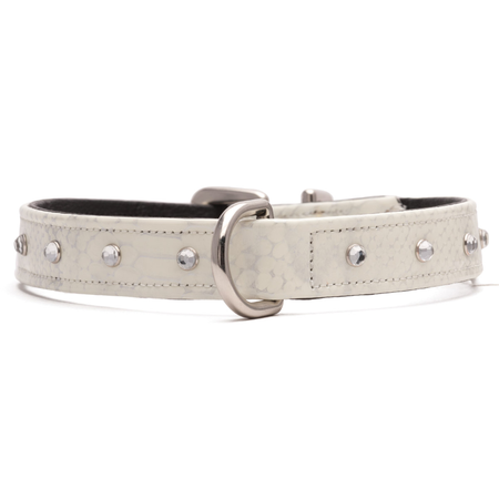 Petlife Jewels Leather Lined Dog Collar White X Large (60cm)