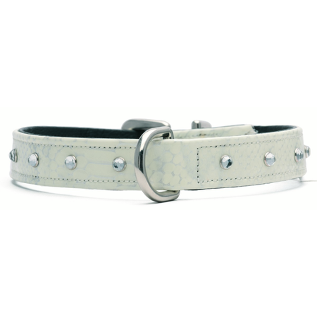 Petlife Jewels Leather Lined Dog Collar White X Small (30cm)