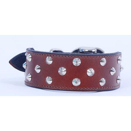 Petlife Leather Studded Staffy Dog Collar Pink Large (52.5cm)