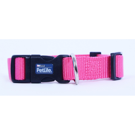 Petlife Nylon Adjustable Dog Collar with Clip Pink Small (25-40cm)