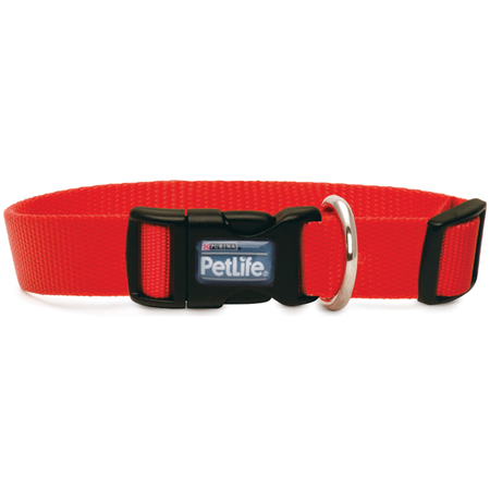 Petlife Nylon Adjustable Dog Collar with Clip Red Medium (30-50cm)