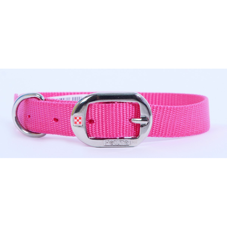 Petlife Nylon Dog Collar with Buckle Pink Small  (37.5cm)