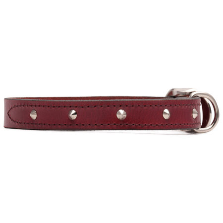 Petlife Round Studded Leather Dog Collar Brown Small (37.5cm)