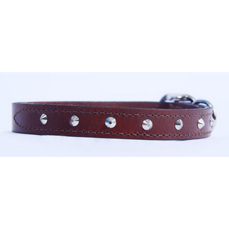 Petlife Round Studded Leather Dog Collar Red Large (52.5cm)