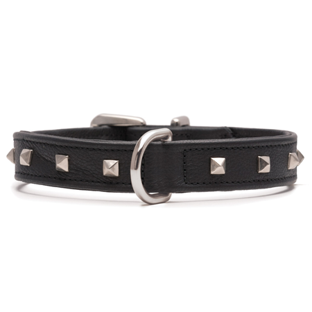 Petlife Square Studded Leather Dog Collar Black XX Large (67.5cm)
