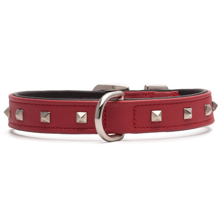 Petlife Square Studded Leather Dog Collar Red Small (30cm)