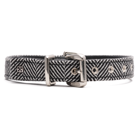Petlife Textiles Zig Zag Leather Lined Dog Collar Black Small (37.5cm)