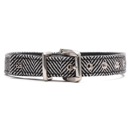 Petlife Textiles Zig Zag Leather Lined Dog Collar Black X Small (30cm)