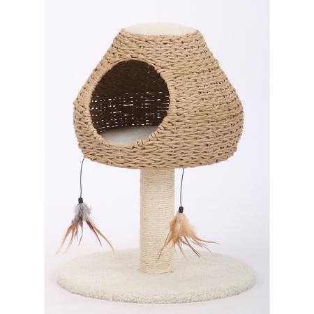 Petpals Cat Scratcher Cave-Story with Hide & Sisal Post & Fleece Bedding