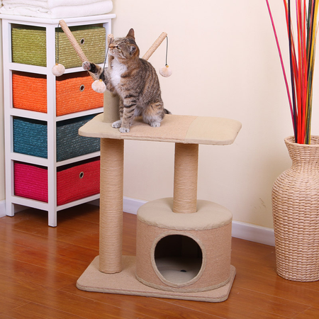 Petpals Cat Scratcher Condo with teasers - Jute