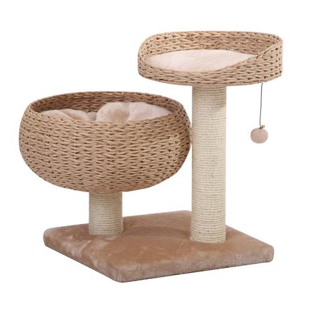 Petpals Cat Scratcher Cozy with Perch, Lounge, Plush Fleece & Sisal