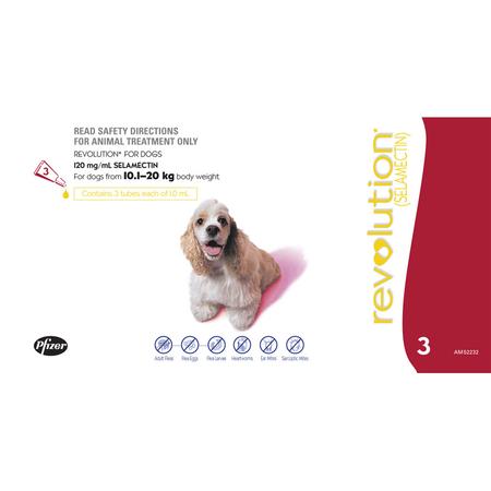 Revolution for Dogs 10-20kg - Red 3 pack