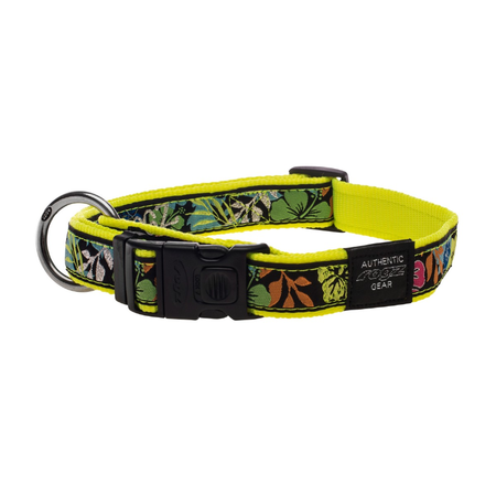 Rogz Dayglow Yellow Nylon Dog Collar Yellow Armed Response (43-70cm)
