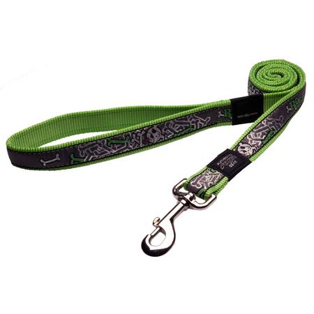 Rogz Lime Bones Fixed Dog Lead Green Armed Response (25mm)