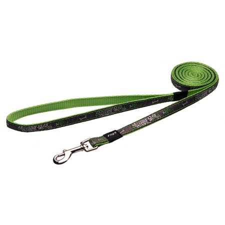 Rogz Lime Bones Fixed Dog Lead Green Jellybean (11mm)