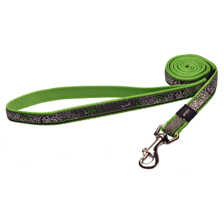 Rogz Lime Bones Fixed Dog Lead Green Scooter (16mm)