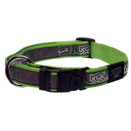 Rogz Lime Bones Nylon dog Collar Green Armed Response (43-70cm)