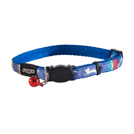 Rogz Neocat Candystripes Quick Release Cat Collar Blue Small (11mm)