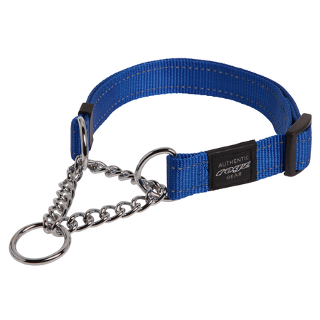 Rogz Obedience Half Check Chain Dog Collar Blue Lumberjack (43-70cm)