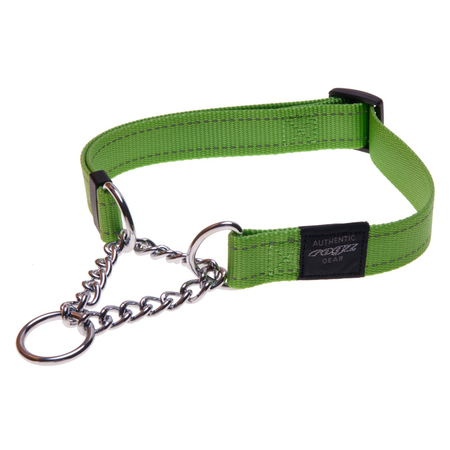 Rogz Obedience Half Check Chain Dog Collar Green Lumberjack (43-70cm)