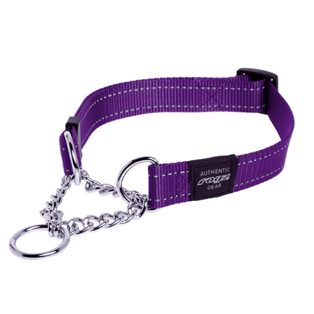 Rogz Obedience Half Check Chain Dog Collar Purple Lumberjack (43-70cm)