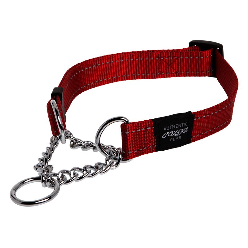 Rogz Obedience Half Check Chain Dog Collar Red Lumberjack (43-70cm)