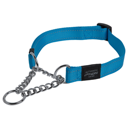 Rogz Obedience Half Check Chain Dog Collar Turquoise Lumberjack (43-70cm)